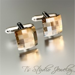 Swarovski Golden Shadow Crystal Square Chessboard Cufflinks