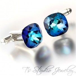 Bermuda Blue Cushion Cut Swarovski Crystal Cufflinks - Choose your Color