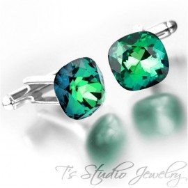 Mint Green Cushion Cut Swarovski Crystal Cufflinks - Choose your Color