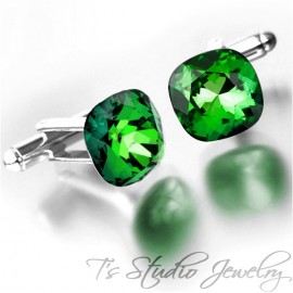 Green Cushion Cut Swarovski Crystal Cufflinks - Choose your Color