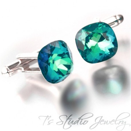 Peacock Blue Green Cushion Cut Swarovski Crystal Cufflinks - Choose your Color