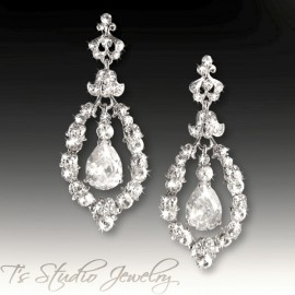 Silver Hoop CZ Cubic Zirconia Crystal Chandelier Wedding Earrings
