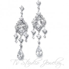 Vintage Inspired CZ Bridal Chandelier Earrings