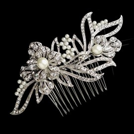 Floral Rhinestone and Pearl Bridal Hair Comb - Gold or Silver