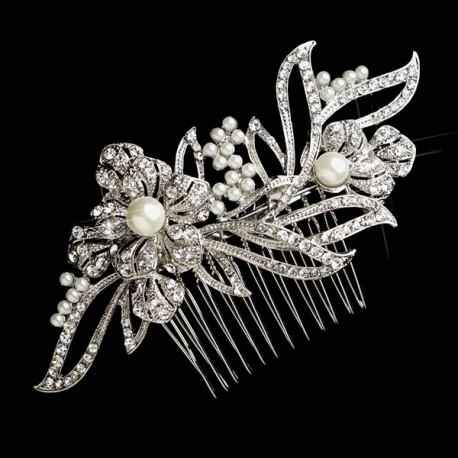 Rhinestone and Pearl Bridal Hair Comb
