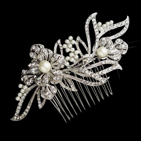 Floral Rhinestone and Pearl Bridal Hair Comb