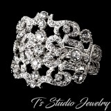 Wide Silver and Crystal Bridal Cuff Bracelet