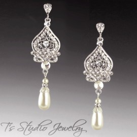 Pearl Bridal Earrings in Silver, Gold or Rose Gold - ARIANA