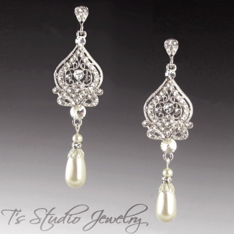 Chandelier Pearl Bridal Earrings in Silver, Gold or Rose Gold - ARIANA