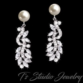 Silver Leafy Pave CZ Crystal Pearl Bridal Earrings - REGINA