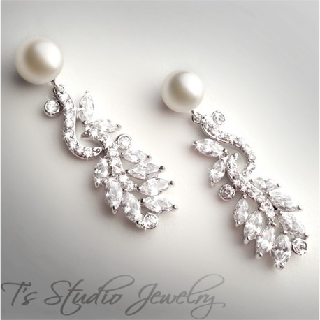 Silver Leafy Pave CZ Crystal Pearl Bridal Earrings