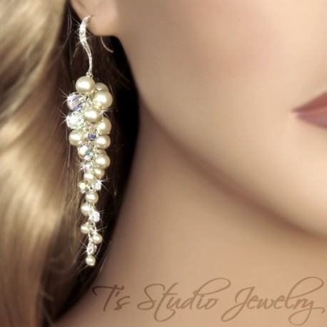 Long Pearl and Crystal Cluster Earrings - KARIN