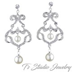 Silver Rhinestone Chandelier Pearl Earrings