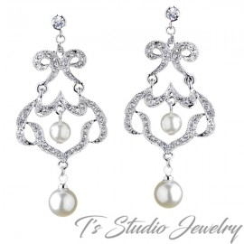 Silver Rhinestone Chandelier Pearl Earrings