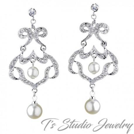Romantic Silver Rhinestone Chandelier Pearl Earrings