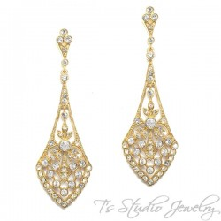 Art Deco Style Bridal Earrings - Silver or Gold