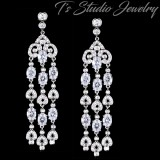 Pave CZ Crystal Chandelier Bridal Earrings