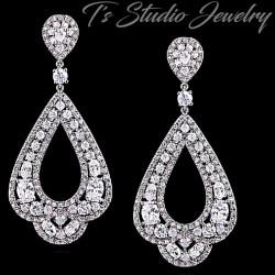 CZ Pave Silver Bridal Hoop Chandelier Earrings