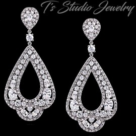 CZ Pave Silver Bridal Hoop Chandelier Earrings