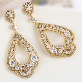 Gold CZ Pave Bridal Hoop Chandelier Earrings