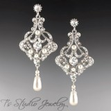 Long Pearl Bridal Chandelier Earrings