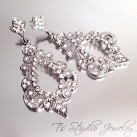 Hoop Style CZ Crystal Pave Bridal Chandelier Earrings