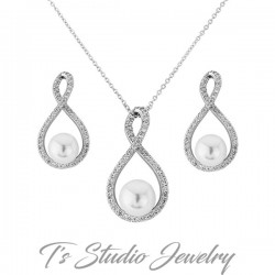 Infinity CZ and Pearl Necklace & Earrings Set