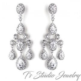 Elegant CZ Crystal Bridal Chandelier Earrings