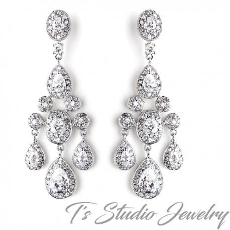 Elegant CZ Crystal Bridal Chandelier Bridal Earrings