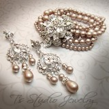 Vintage Theme Pearl Bridal Bracelet & Earrings