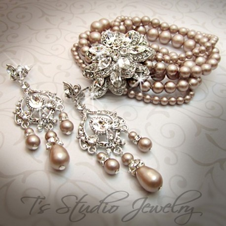 Vintage Theme Champagne Pearl Bridal Cuff Bracelet & Earrings Set