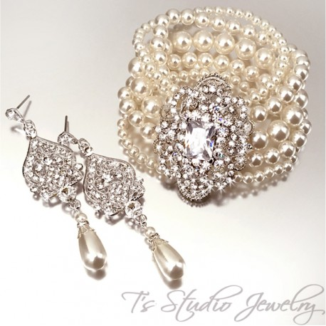 Wedding Pearl Cuff Bridal Bracelet & Crystal Chandelier Earrings Set