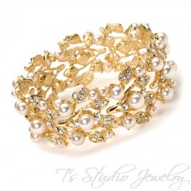 Pearl and Crystal Bridal Cuff Bracelet - BELLA