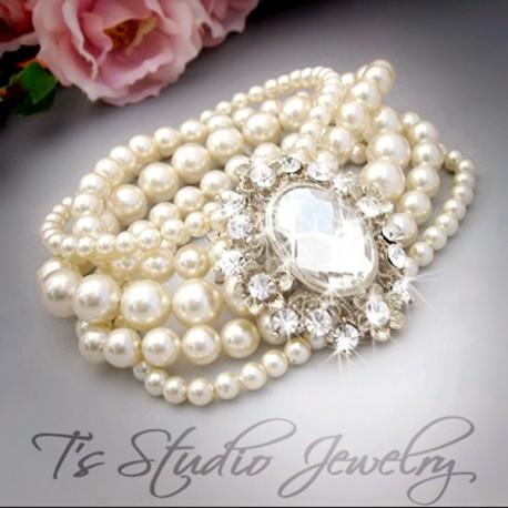Pearl and Crystal Cuff Bridal Bracelet