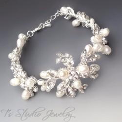 Vintage Style Freshwater Pearl and Crystal Bridal Bracelet