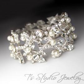 Silver Pearl Cuff Rhinestone Bridal Bracelet