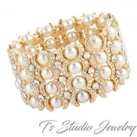 Gold 4-Strand Pearl & Rhinestone Bridal Bracelet
