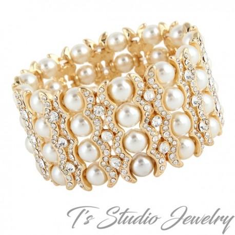 Gold 4-Strand Pearl & Rhinestone Cuff Bridal Bracelet