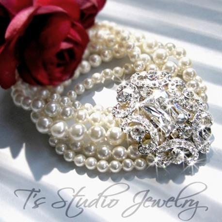 5-Strand Pearl Bridal Wedding cuff Bracelet