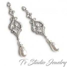 Vintage Style Teardrop Pearl Bridal Chandelier Earrings
