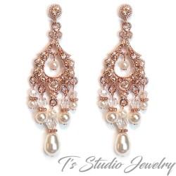 Rose Gold Pearl Bridal Chandelier Earrings