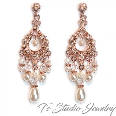 Rose Gold Bridal Chandelier Earrings