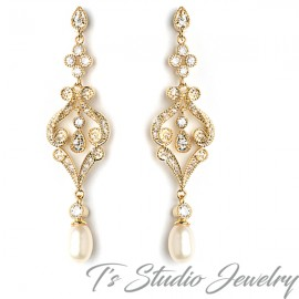 Gold Pearl Pave Bridal Earrings
