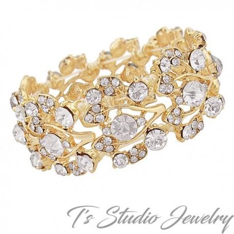 Gold Crystal Rhinestone Bridal Bracelet