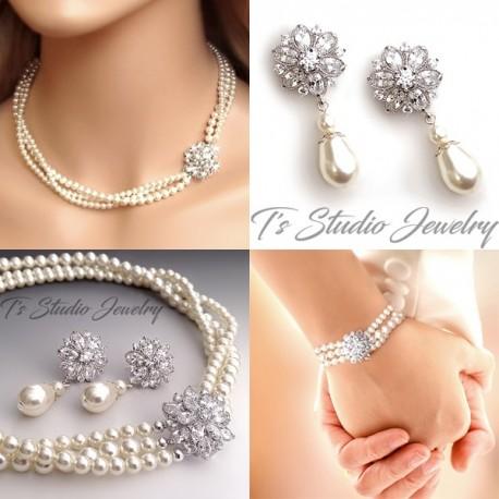 CZ Crystal & Pearl Bridal Necklace, Earrings & Bracelet Set