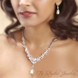CZ Cubic Zirconia Pave Necklace and Earrings Set