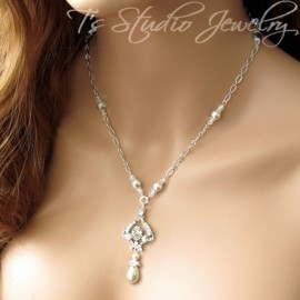 Pearl Bridal Back Drop Lariat Necklace