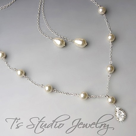 Pearl Backdrop Lariat Bridal Necklace Back Drop Silver or Gold Chain