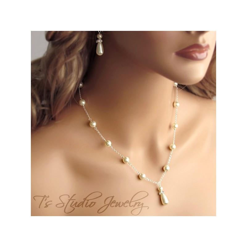 Pearl Back Drop Lariat Bridal Necklace Chain Strand Dangle