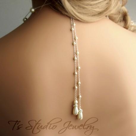 Pearl Back Drop Lariat Bridal Necklace